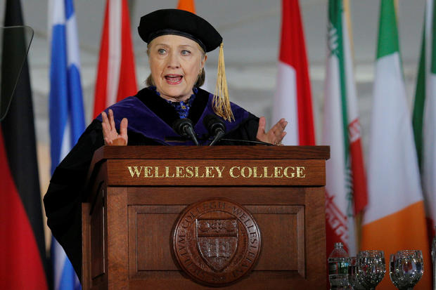 Former U.S. Secretary of State Hillary Clinton delivers the Commencement Address at Wellesley College in Wellesley