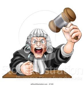 vector-illustration-of-a-cartoon-fierce-angry-white-male-judge-spitting-holding-a-gavel-and-slamming-his-fist-down-by-atstockillustration-7436