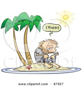 87927-Shaggy-Toon-Guy-Sighing-While-Stranded-On-A-Deserted-Island